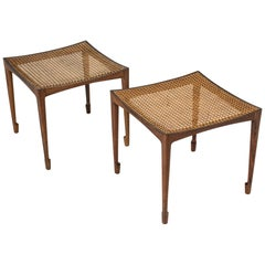 Pair of Rosewood and Rattan Stools by Bernt Petersen for Wørts Møbelsnedkeri