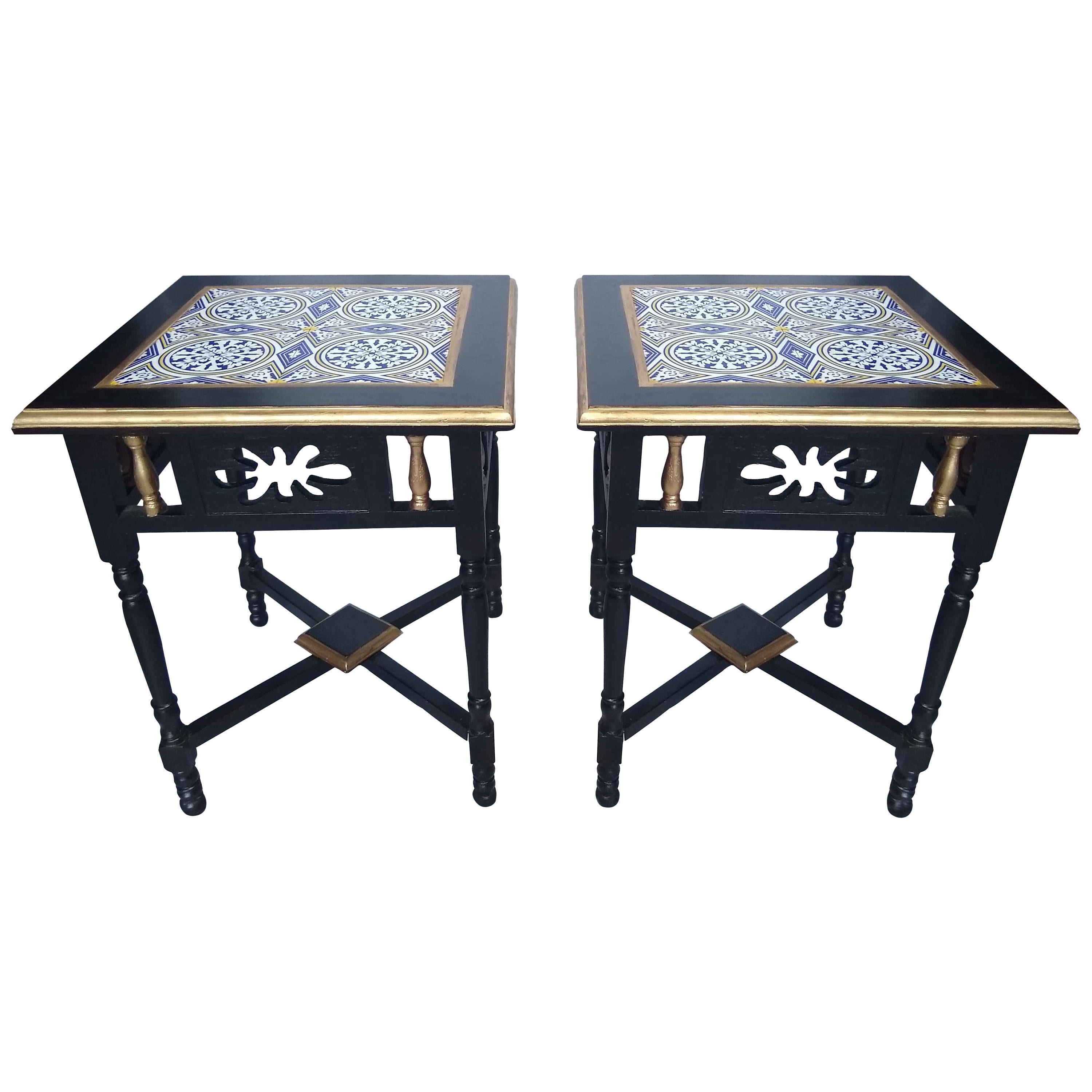 Pair of Rosewood and Tile Side Tables, 1970s
