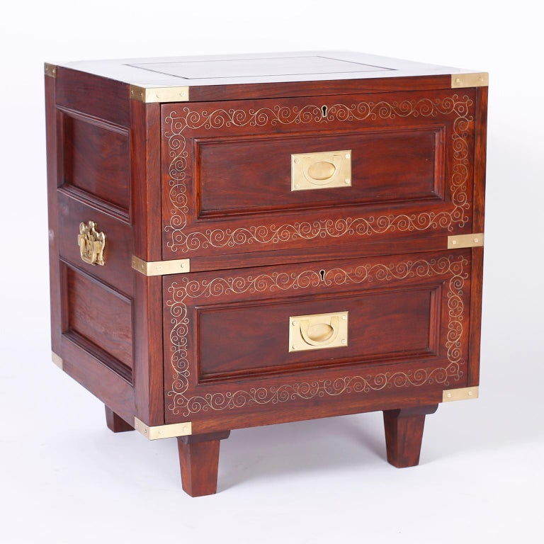 Anglo-Indian Pair of Rosewood Anglo Indian Campaign Nightstands or Chests By M.Hayat & Bros For Sale