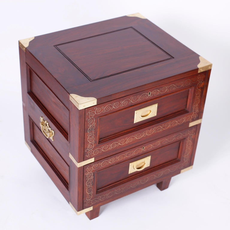 Pair of Rosewood Anglo Indian Campaign Nightstands or Chests By M.Hayat & Bros In Good Condition For Sale In Palm Beach, FL