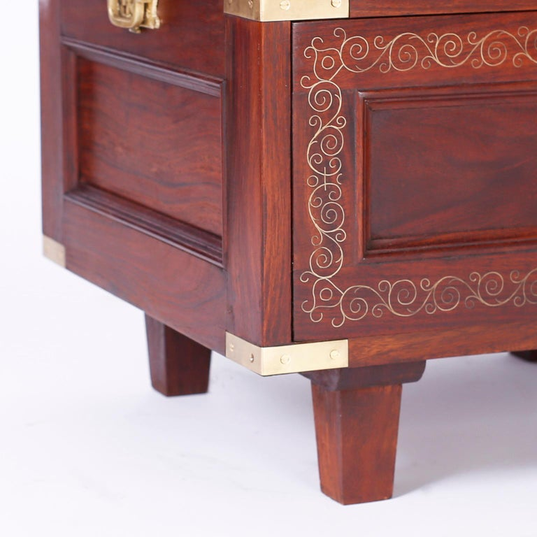 20th Century Pair of Rosewood Anglo Indian Campaign Nightstands or Chests By M.Hayat & Bros For Sale