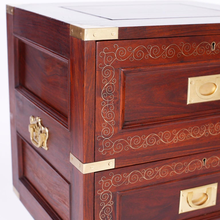 Brass Pair of Rosewood Anglo Indian Campaign Nightstands or Chests By M.Hayat & Bros For Sale