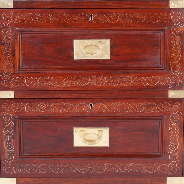 Pair of Rosewood Anglo Indian Campaign Nightstands or Chests By M.Hayat & Bros For Sale 3