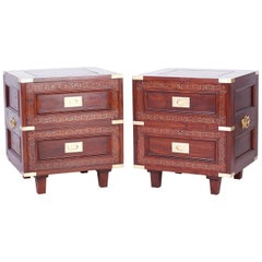 Pair of Rosewood Anglo Indian Campaign Nightstands or Chests By M.Hayat & Bros