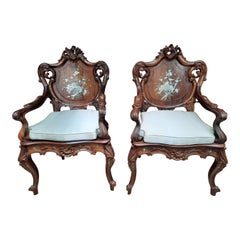 Pair of Rosewood Arm Chairs with Mother of Pearl Inlay