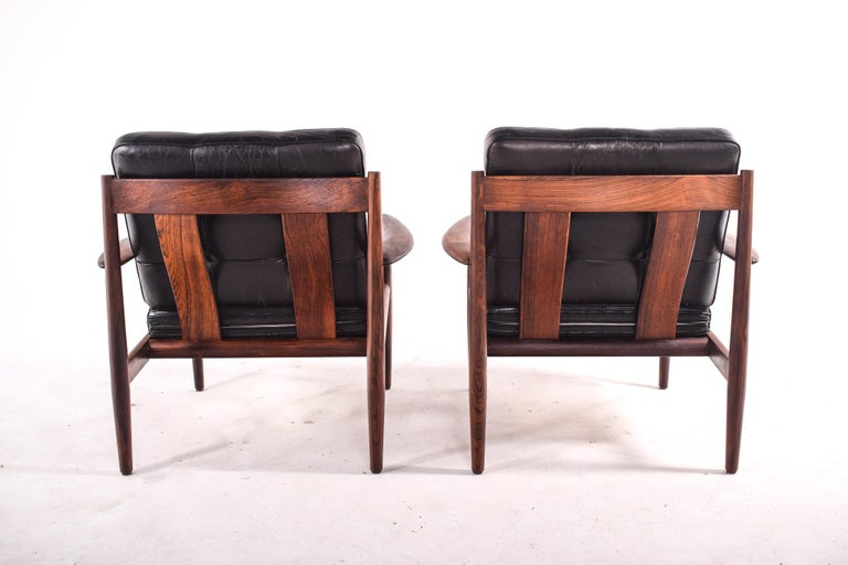 Pair of Rosewood Armchairs by Grete Jalk, Model 118 for France & Son, 1960s For Sale 3