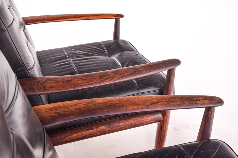 Mid-Century Modern Pair of Rosewood Armchairs by Grete Jalk, Model 118 for France & Son, 1960s For Sale