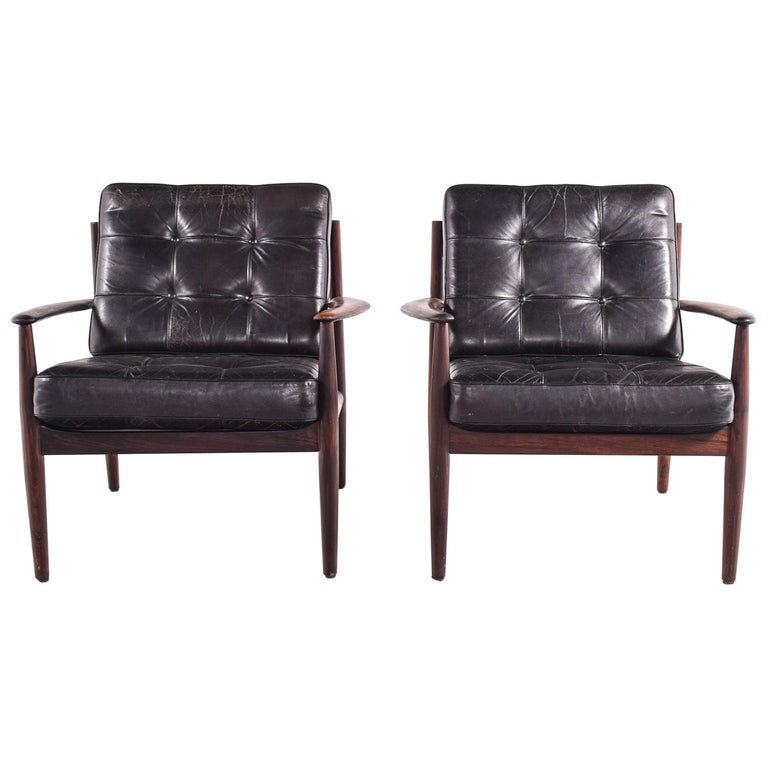 Pair of Rosewood Armchairs by Grete Jalk, Model 118 for France & Son, 1960s For Sale