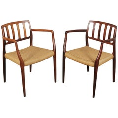 Pair of Rosewood Armchairs by N.O Møller Model 66