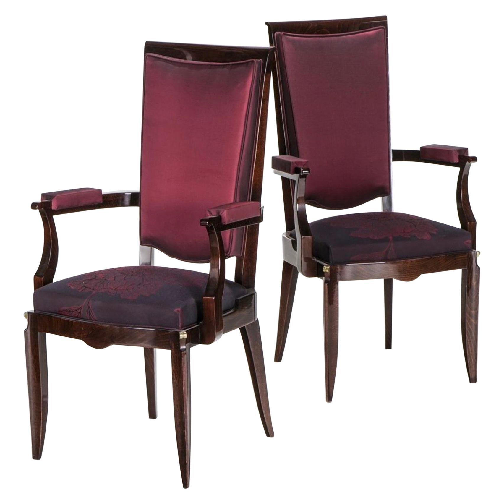 Pair of Rosewood Armchairs, Jules Leleu
