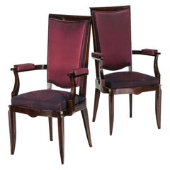 Pair of Rosewood Armchairs, Jules Leleu