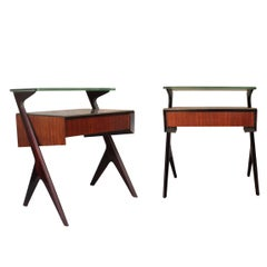 Midcentury Modern Brown Italian Pair of Bedside Tables. Italy, 1950