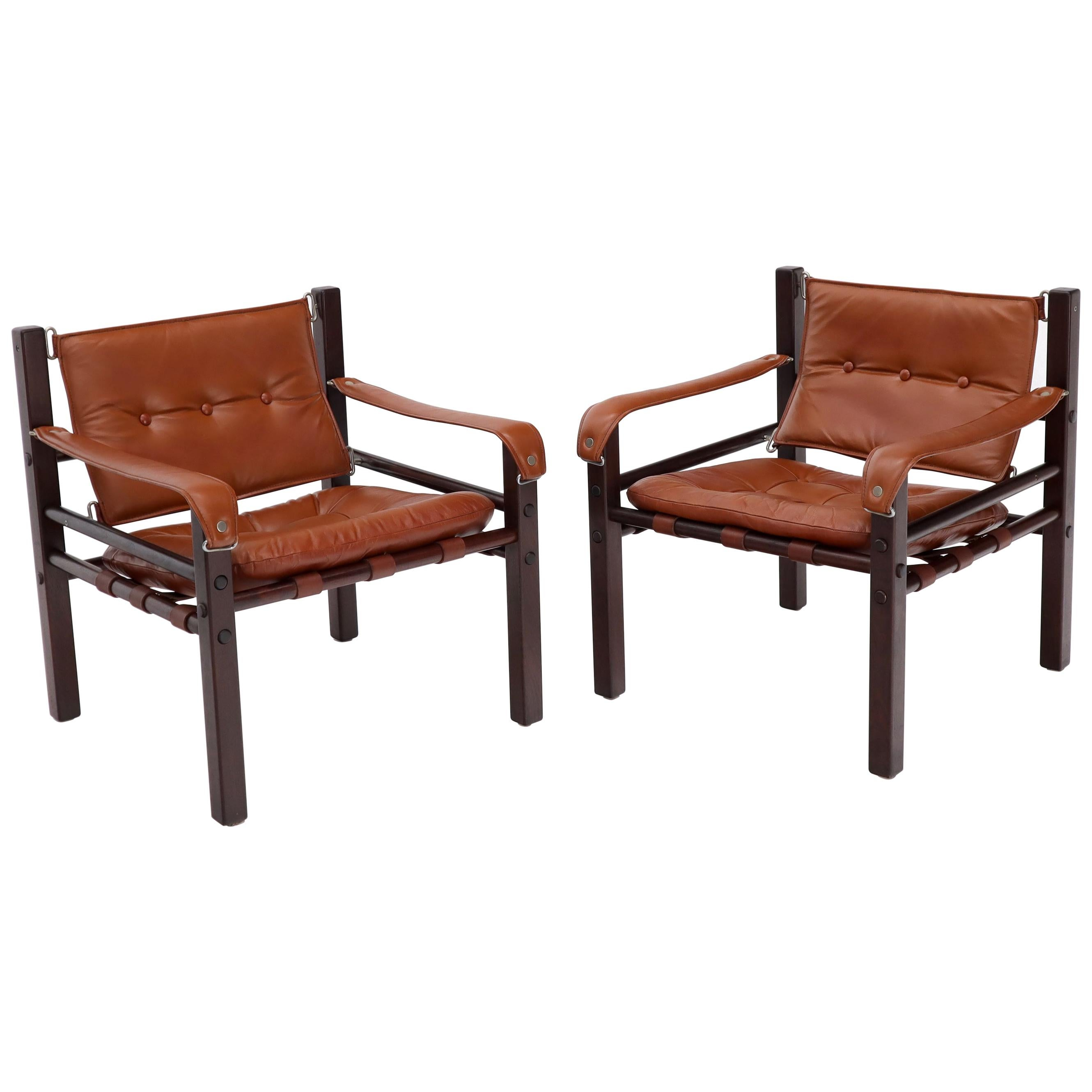 Pair of Rosewood Brown Leather Upholstery Safari Sling Chairs