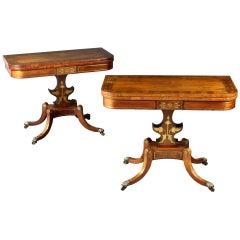 Pair of Rosewood Card Tables, circa 1820