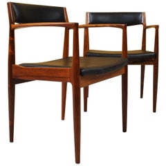 Pair of Rosewood Chairs by Henry W Klein