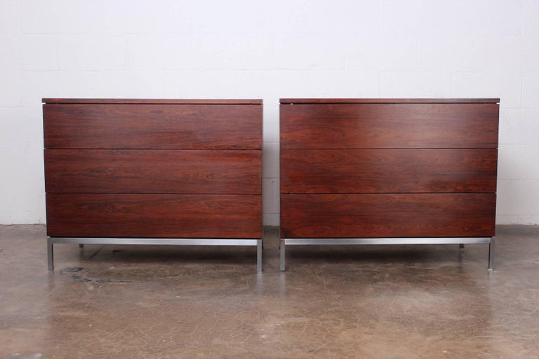 Pair of Rosewood Chests by Florence Knoll In Good Condition For Sale In Dallas, TX