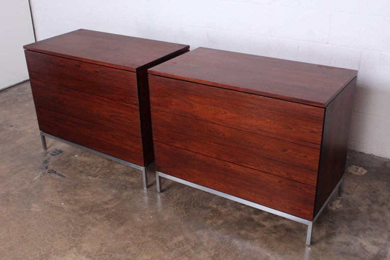 Pair of Rosewood Chests by Florence Knoll For Sale 2