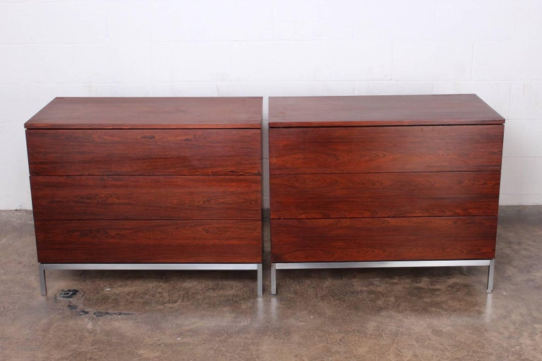 Pair of Rosewood Chests by Florence Knoll For Sale 5