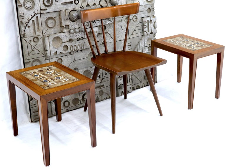 Pair of midcentury Danish modern fine art tile top end side occasional tables. Attributed to Severin Hansen. NYC area delivery starts from $150.