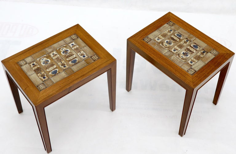 20th Century Pair of Rosewood Danish Mid-Century Modern Art Tile Tops Petit End Side Tables For Sale