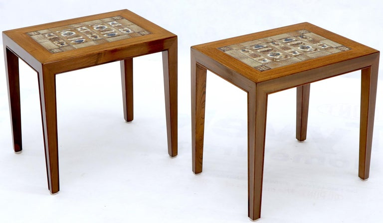 Pair of Rosewood Danish Mid-Century Modern Art Tile Tops Petit End Side Tables For Sale 1
