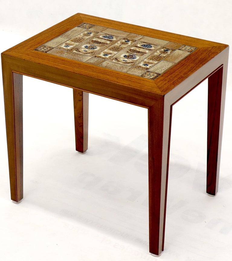 Pair of Rosewood Danish Mid-Century Modern Art Tile Tops Petit End Side Tables For Sale 2
