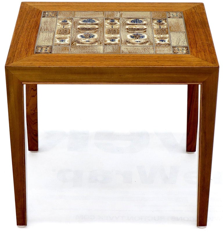 Pair of Rosewood Danish Mid-Century Modern Art Tile Tops Petit End Side Tables For Sale 4