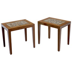 Pair of Rosewood Danish Mid-Century Modern Art Tile Tops Petit End Side Tables