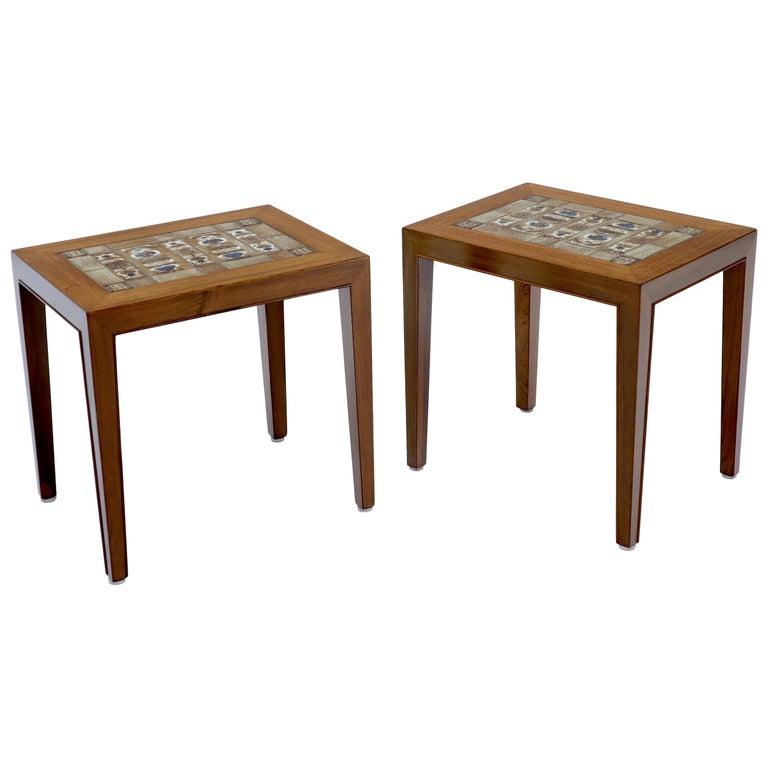Pair of Rosewood Danish Mid-Century Modern Art Tile Tops Petit End Side Tables For Sale