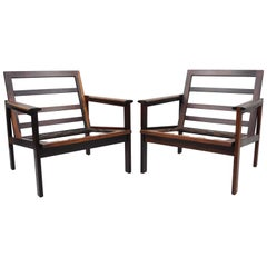 Pair of Rosewood Danish Modern Capella Lounge Club Armchairs by Illum Wikkelso