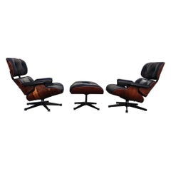 """Pair of Rosewood Eames Lounge Chairs """"tete a tete"""" Produced by Vitra"""
