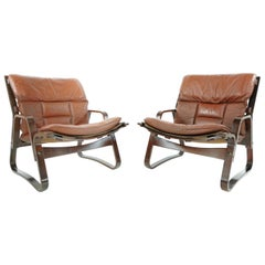 Pair of Rosewood & Leather Armchairs Vintage, 1960s-1970s