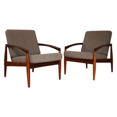 Pair of Rosewood Model 121 Paper Knife Chairs by Kai Kristiansen, Kvadrat Fabric