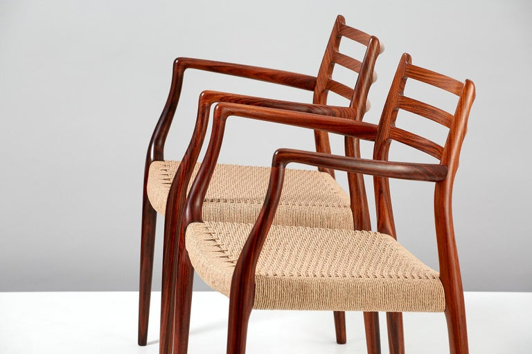 Scandinavian Modern Pair of Rosewood Model 62 Armchairs by Niels Moller, 1962 For Sale