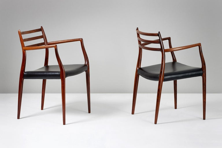 Danish Pair of Rosewood Model 62 Armchairs by Niels Moller, 1962 For Sale