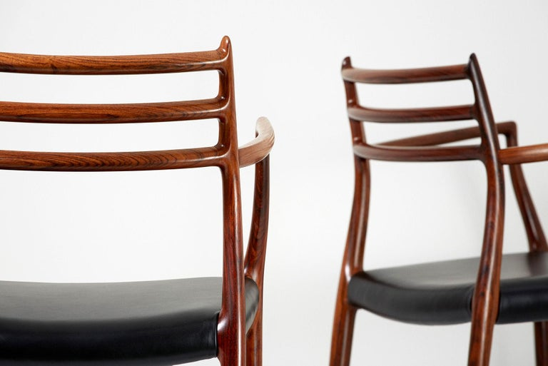 Mid-20th Century Pair of Rosewood Model 62 Armchairs by Niels Moller, 1962 For Sale