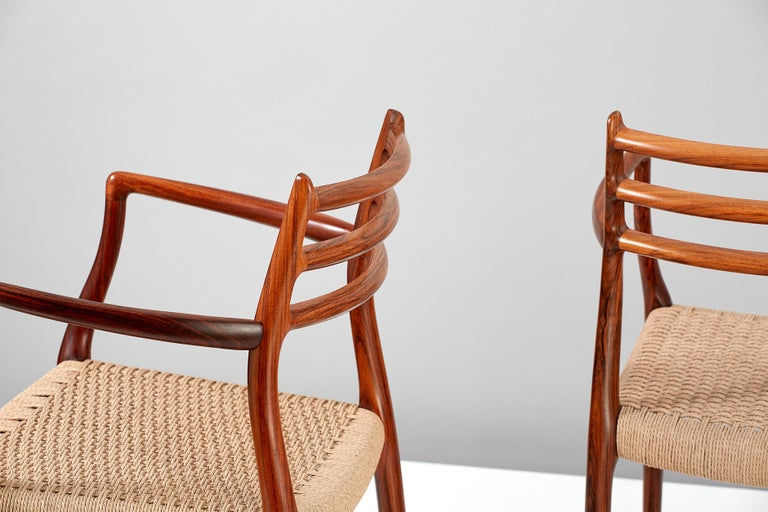 Papercord Pair of Rosewood Model 62 Armchairs by Niels Moller, 1962 For Sale