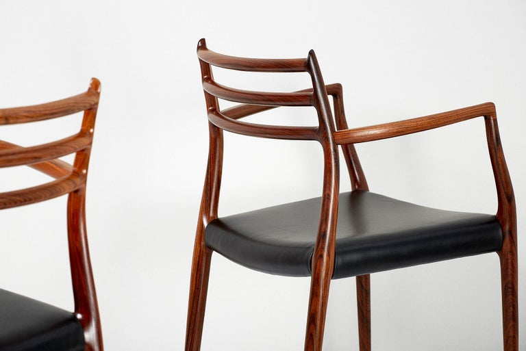 Pair of Rosewood Model 62 Armchairs by Niels Moller, 1962 For Sale 1