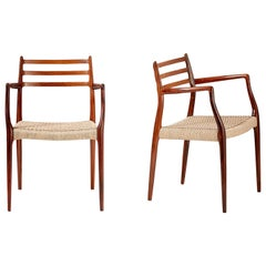 Pair of Rosewood Model 62 Armchairs by Niels Moller, 1962