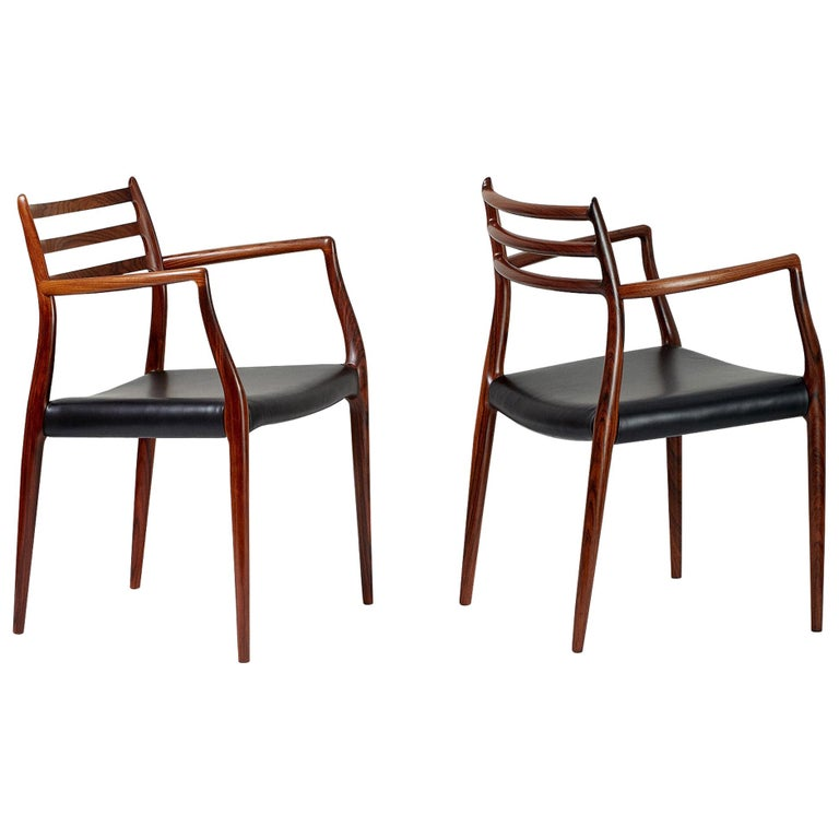 Pair of Rosewood Model 62 Armchairs by Niels Moller, 1962 For Sale