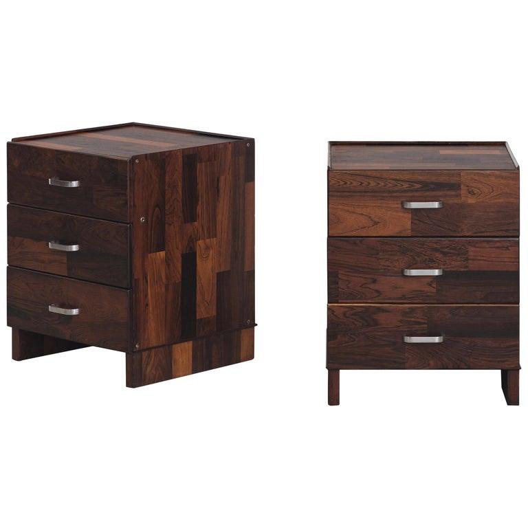 Pair of Rosewood Nightstand Design by Jorge Zalszupin, Brazilian Design For Sale