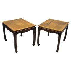 Pair of Rosewood Oriental Chinoiserie Ming Style Lamp Side Tables by Lane