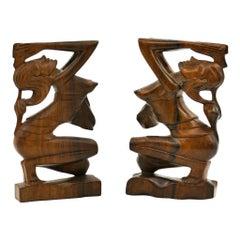 Pair of Rosewood Sculptures, Indonesia, Mid-20th Century