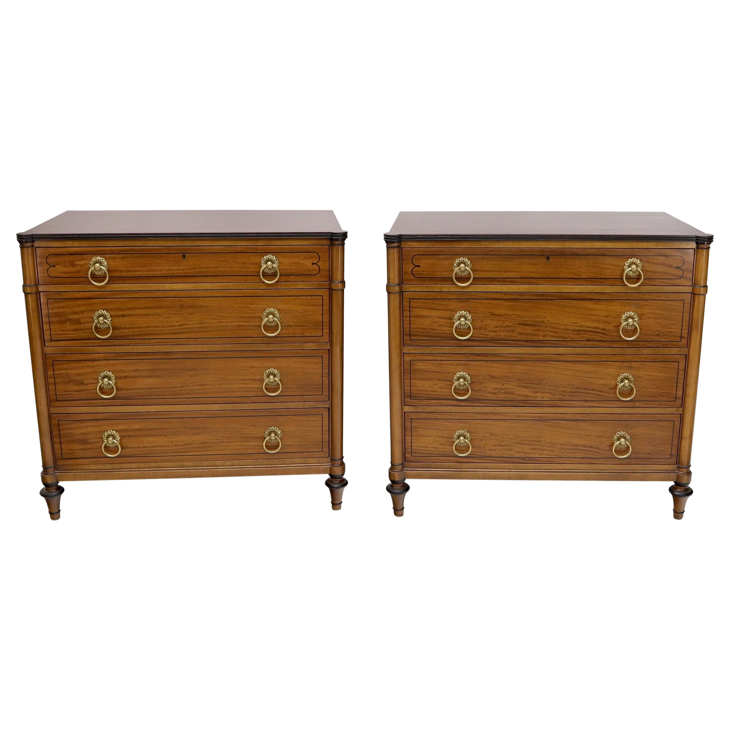 Pair of Rosewood Tops Satin Wood Heavy Brass Ring Pulls 4-Drawer Bachelor Chests