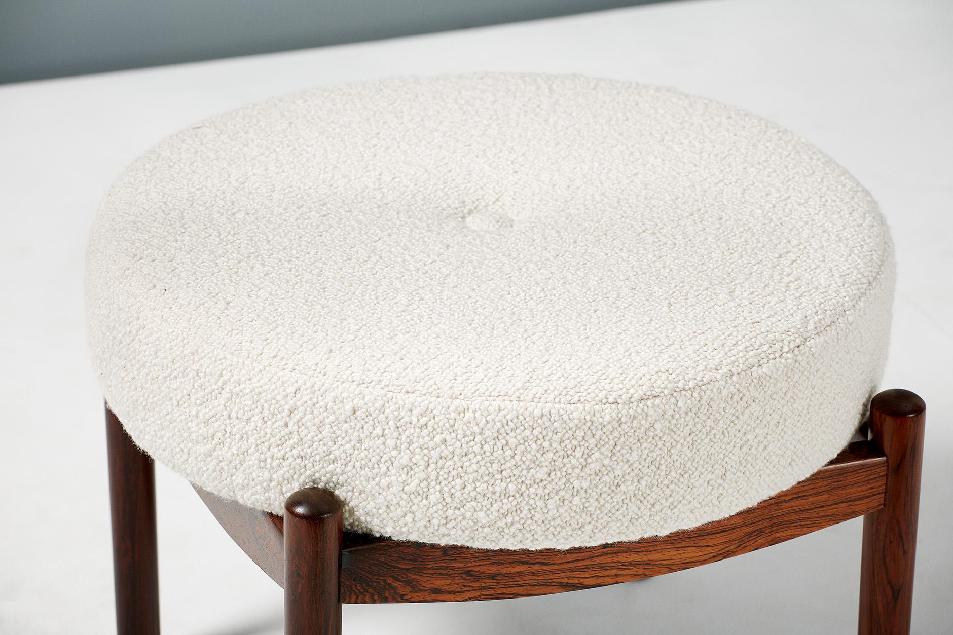 Sensational Pair Of Rosewood Vintage Circular Ottomans Circa 1950S Short Links Chair Design For Home Short Linksinfo