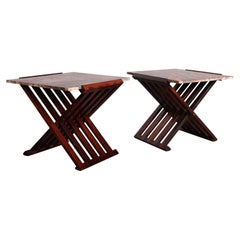 Pair of Rosewood X-Base Tables by Edward Wormley for Dunbar