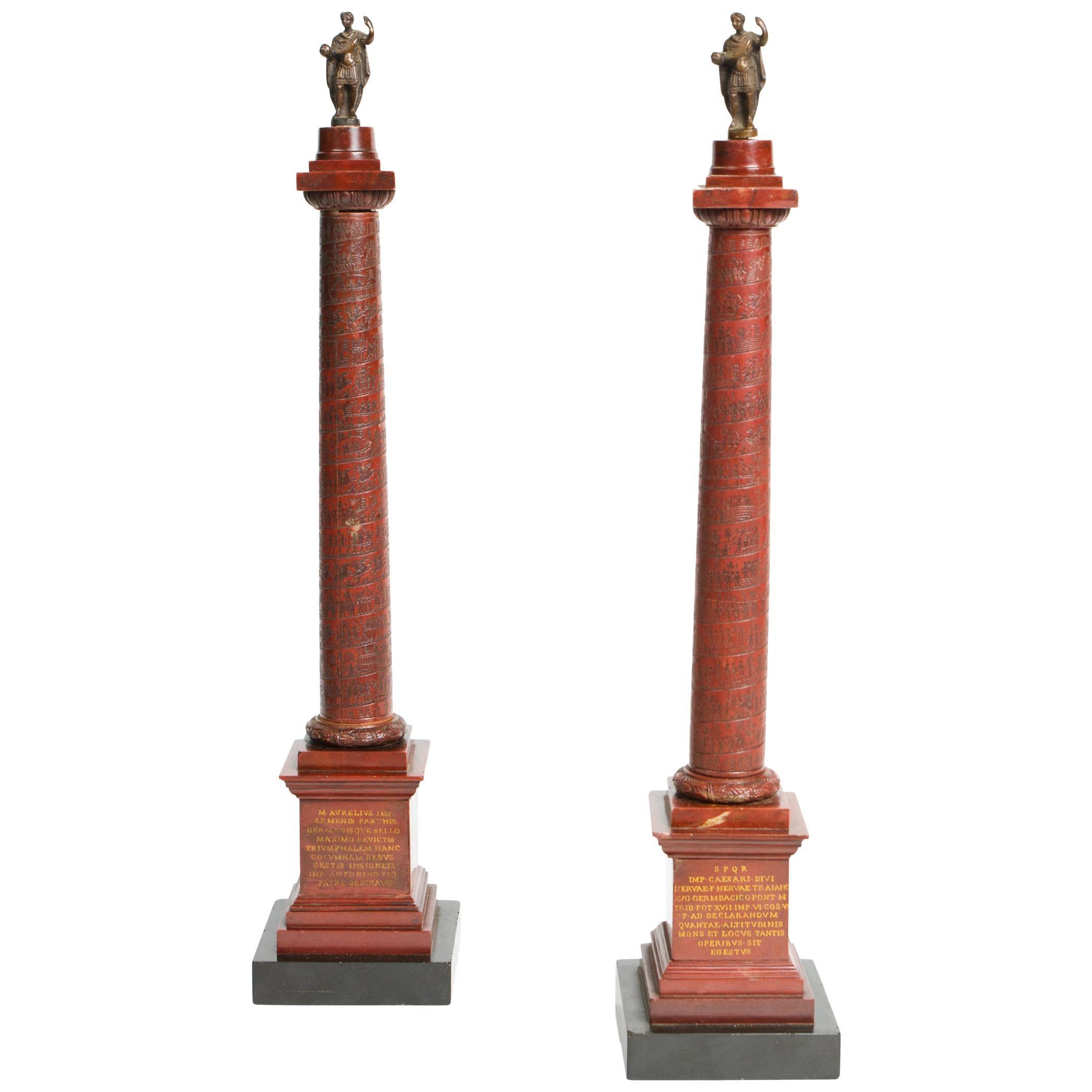 Pair of Rosso Antico Marble Grand Tour Columns