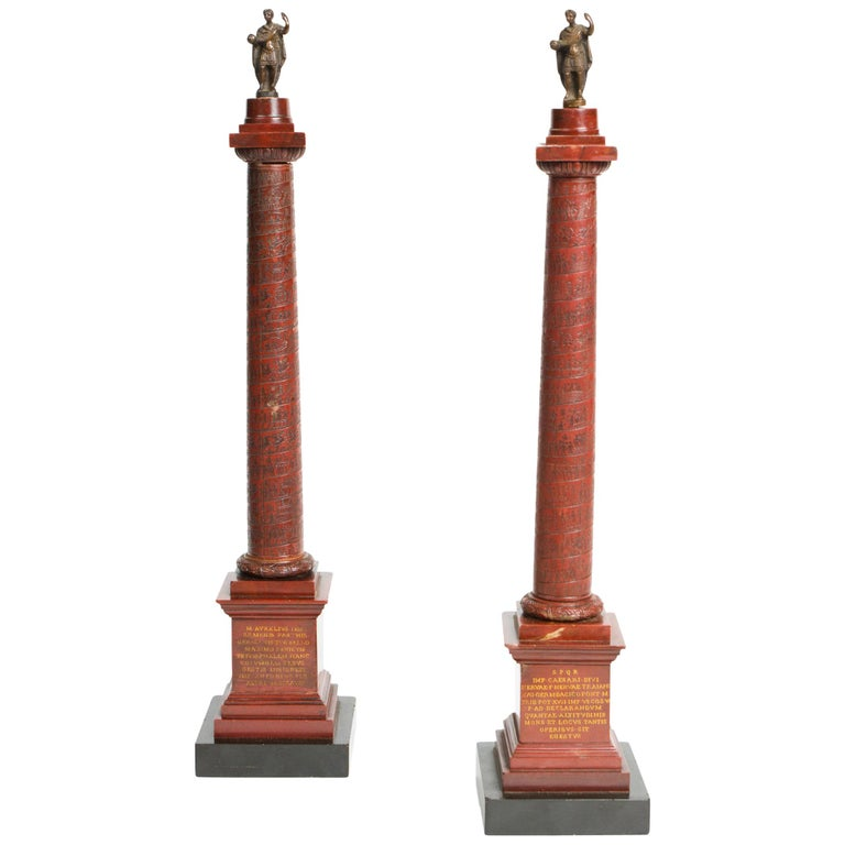 Pair of Rosso Antico Marble Grand Tour Columns For Sale