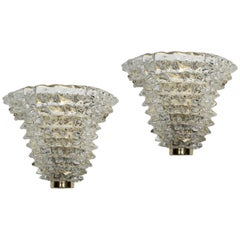 Pair of Rostrate Wall Sconces in Murano Glass and Brass