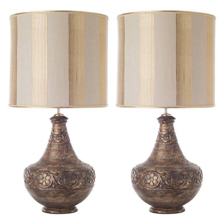 Pair of Rough Ceramic Table Lamps For Sale